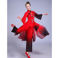 Chinese Classical Dance Costumes Yangko Dance Black Gradient Costumes Female National Dance Drum Wear Stage Performance Clothes