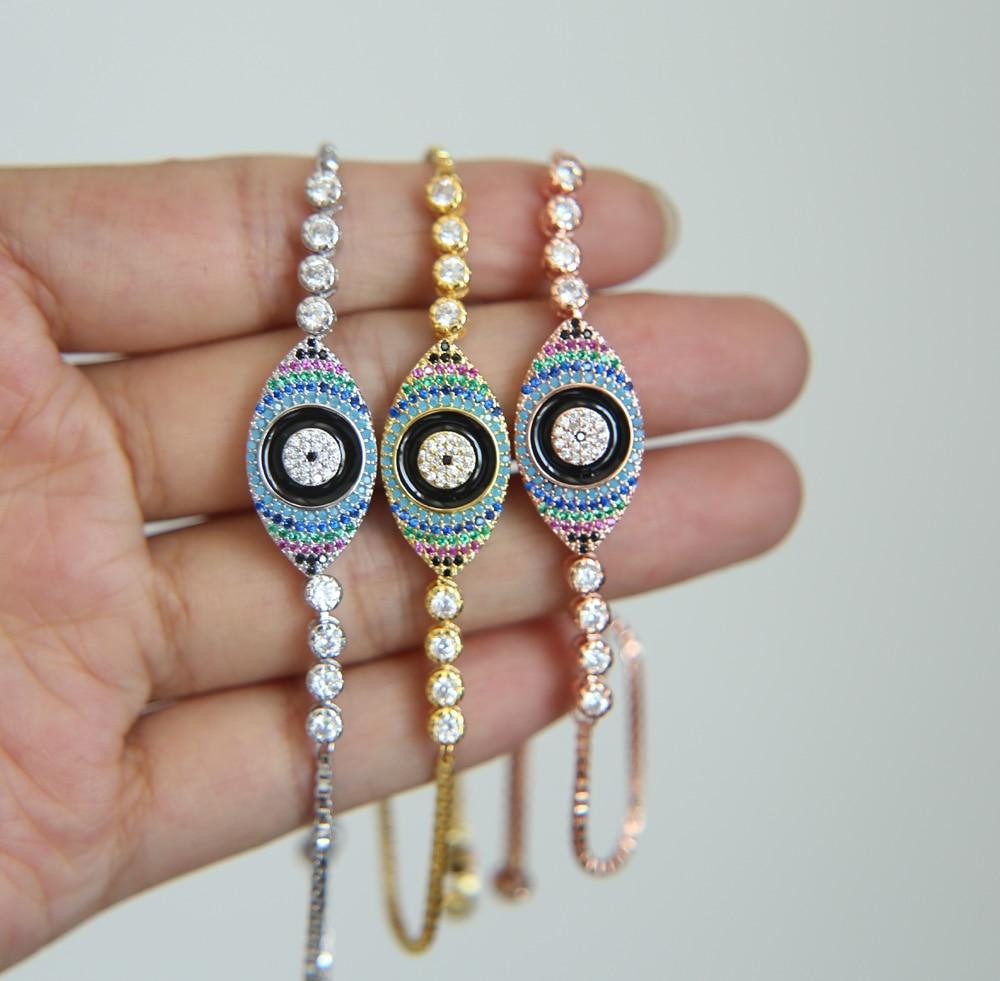wholesale turkish evil eye jewelry black enamel rainbow color adjust box chain tennis gold color high quality bracelet nice