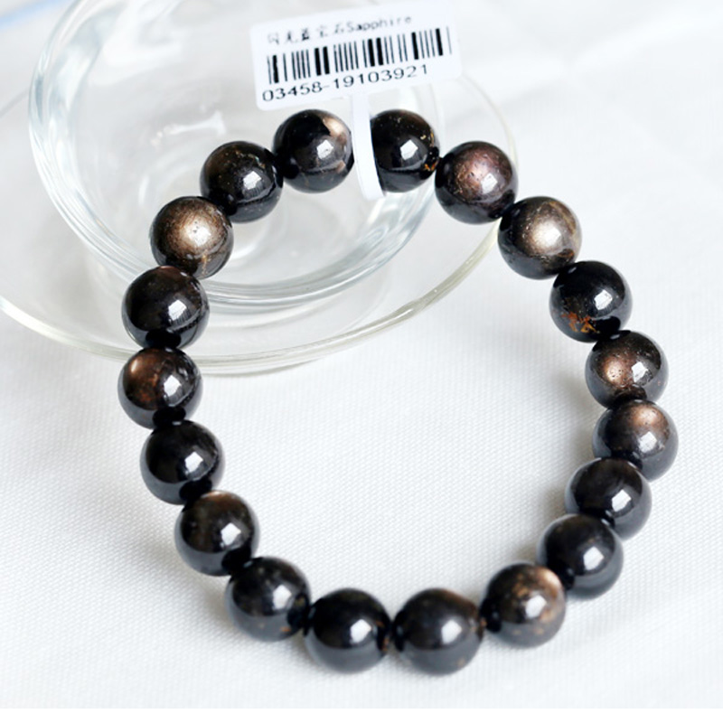 Free Shipping Natural Genuine Black Star Sapphire Finished Stretch Bracelet Smooth Round Loose beads Jewelry DIY