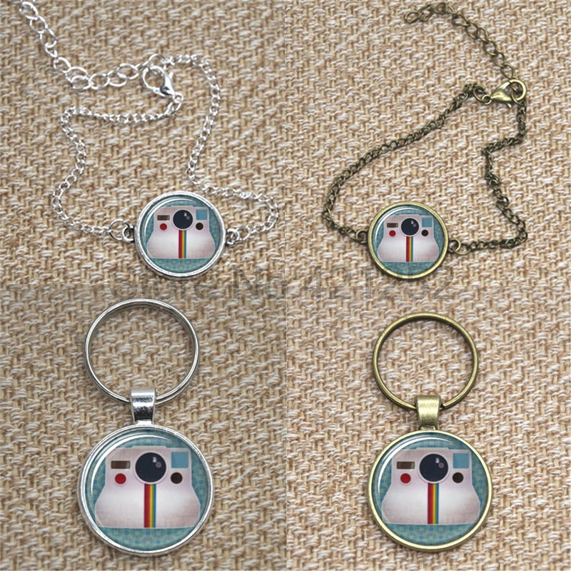 Vintage Polaroid Camera, Background Photography glass Cabochon Necklace AA1 keyring bookmark cufflink earring