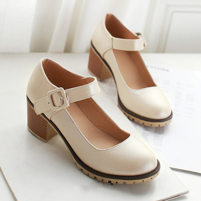 20082b8bbdcd7a Meotina Shoes Women Round Toe Spring Pumps Chunky High Heels Mary Jane  Causal Ladies Shoes Thick Heels White Beige Black 34-43