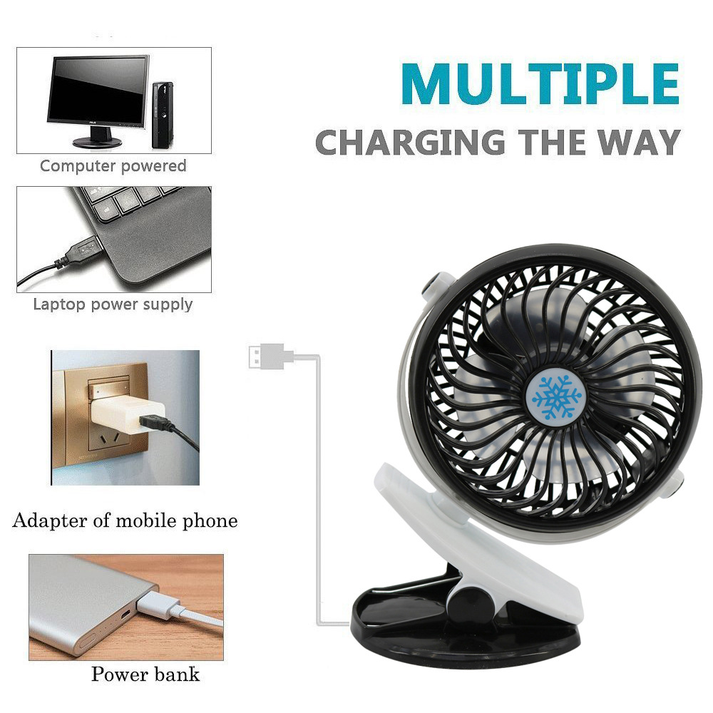 360 Grad Drehen Usb Fan Tragbare Usb Hand Ventilator Rechargable Oszillierende Clip Schreibtisch Kinderwagen Fan Für Kinder Batterie Nicht Enthalten