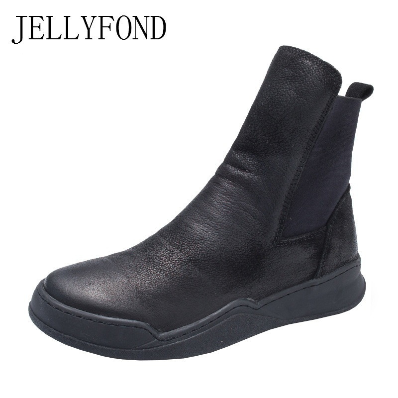 8da6395977 JELLYFOND Ankle Boots Women Handmade Genuine Leather Flat Boots 2018 Autumn  Winter Cowhide Casual Platform Martin Shoes Woman