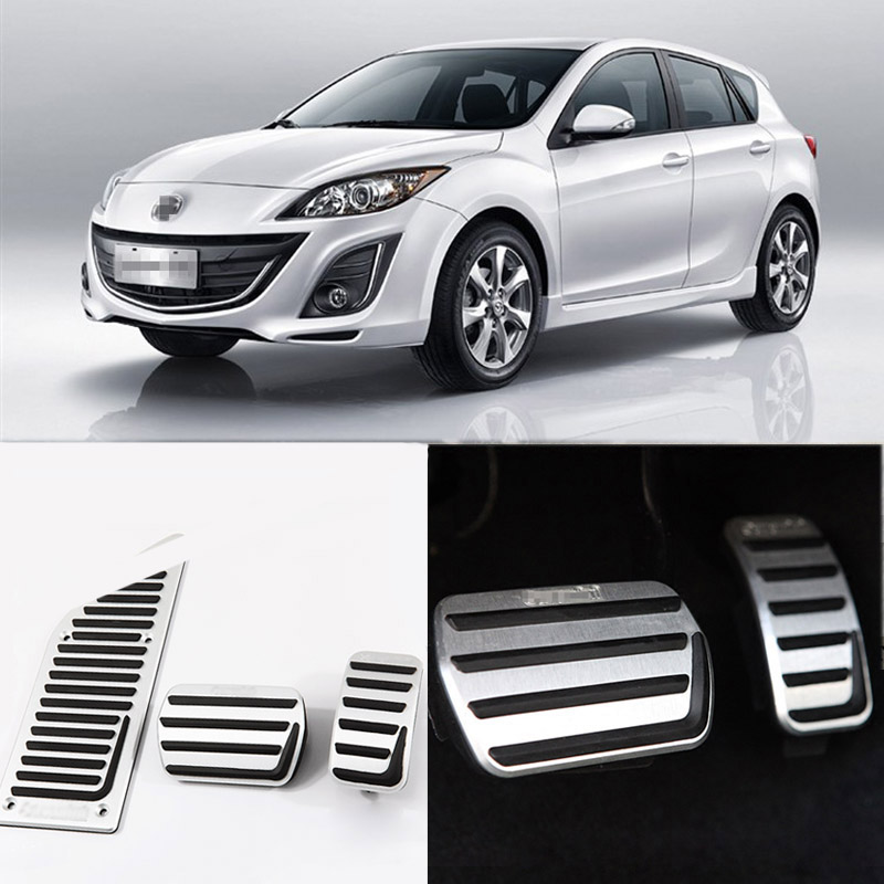 Brand New 3pcs Aluminium Non Slip Foot Rest Fuel Gas Brake Pedal Cover For Mazda 3 AT 2011-2015 brand new 3pcs aluminium non slip foot rest fuel gas brake pedal cover for peugeot 508 at 2011 2016