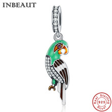 INBEAUT 925 Pure Silver Lovely Parrot Charm Women Cute Animal Pendant for Necklace Sterling Silver Charm fit Pandora Bracelet