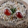 925 Серьги Стержня Стерлингового Серебра Натуральный Красный Агат Серьги для Женщин S925 Серебро букле d'oreille