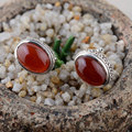 925 Sterling Silver Stud Earring Natural Red Agate Earrings for Women S925 Silver boucle d'oreille