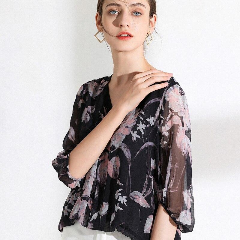 100% размера плюс шелковая блузка Женский Топ простой дизайн круглый вырез рукава Свободный Топ Новая Мода Высокое качество шелковые блузки 2019 - 4