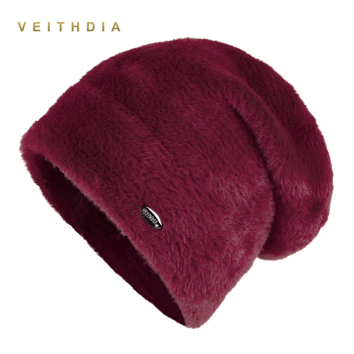 VEITHDIA High Quality Women Winter Hats Fashion Rabbit Velvet Knitted Like Mink Fur Hat Female Girl Double Thickening Beanies