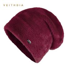VEITHDIA High Quality Women Winter Hats Fashion Rabbit velvet Knitted Like Mink Fur Hat Female Girl