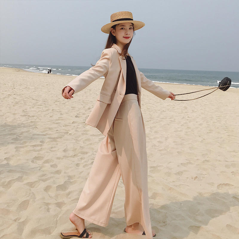 New arrival fashion women solid wide leg pants temperament loose suit women comfortable high quality work style pant suits