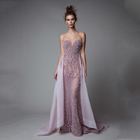 Sexy Violet Illusion Beaded Bling Bling Sleeveless Mermaid Evening Gown with Removable Train Floor Length Wedding Party Dress