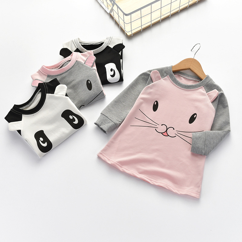2018 New style children clothing girls cloth top Tees T-shirt long sleeve Tees Tshirt cotton cloth