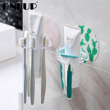 ONEUP Punch-free Plastic Toothbrush Holder Toothpaste Storage Rack Shaver Tooth Brush Dispenser Bathroom Organizer Accessories(China)