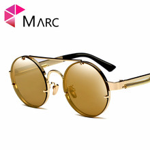 MARC UV400 NEW WOMEN MEN designer sunglasses Oculos fashion Brown Polycarbonate Mirror Round Red Siver Resin arnett fd720 fashion brown resin lens uv400 protection sunglasses for women brown
