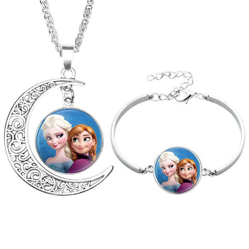 2pcs/lot Disney cartoon Frozen children necklace+Bracelet Elsa bow doll accessories girl birthday gift cosmetic sweater jewelry