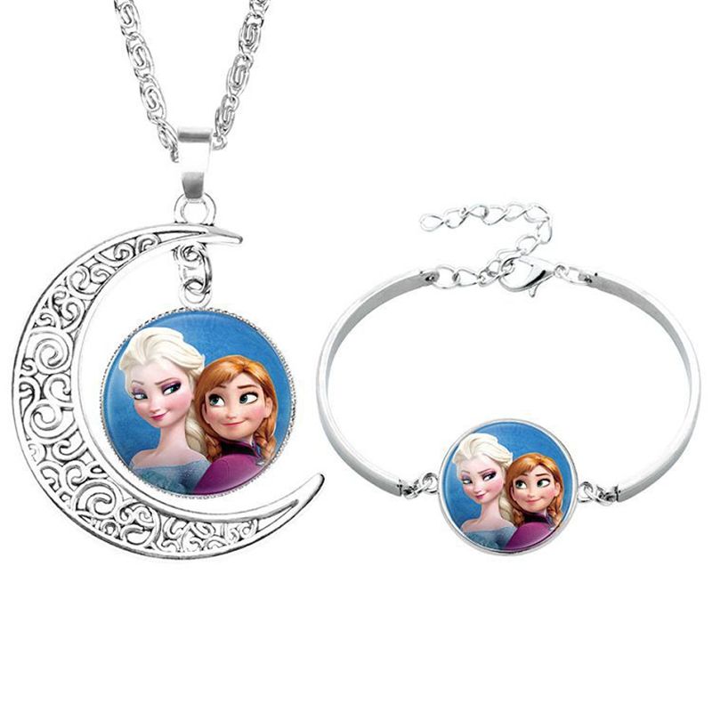 2pcs/lot Disney cartoon Frozen children necklace+Bracelet Elsa bow doll accessories girl birthday gift cosmetic sweater jewelry(China)