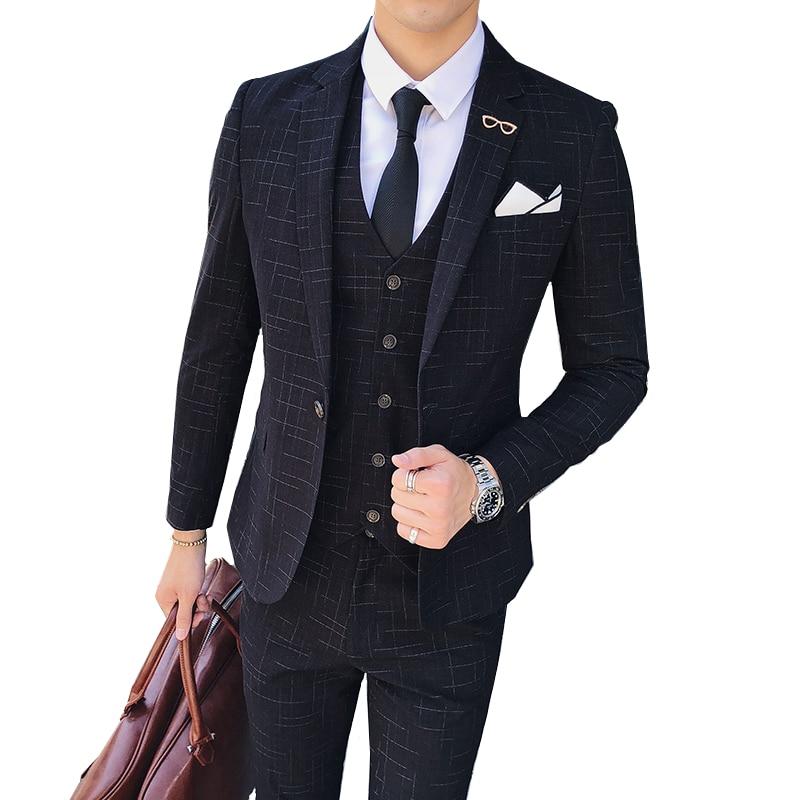 Striped Plaid Men Suit 3 Piece Set ( Men Blazer jacket with Pants and Vest ) Asia size S M L XL XXL XXXL XXXXL mens suits