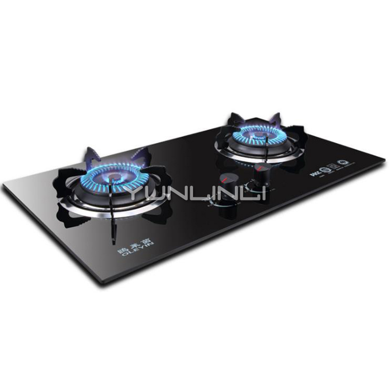 Household Gas Stove Cooktop Double-burner Panel Furnace Tempered Glass Hob Cooker JZY-G602G