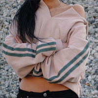 Loose Long sleeved Hoodies Sweatshirts Harajuku Crew Neck Sweats Women Clothing Feminina Loose Short Fleece Jumper Sweats Warm