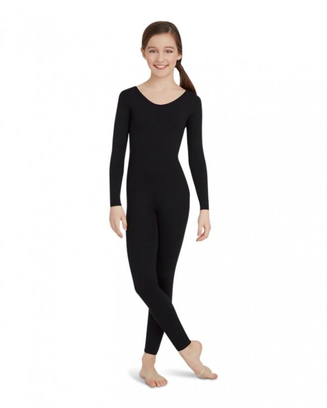 7745007fd1db Unisex Kids Long Sleeve Child Unitard Black Full Body Lycra Spandex Bodysuit  Girls Footless Scoop Neck One Piece Dance Costume