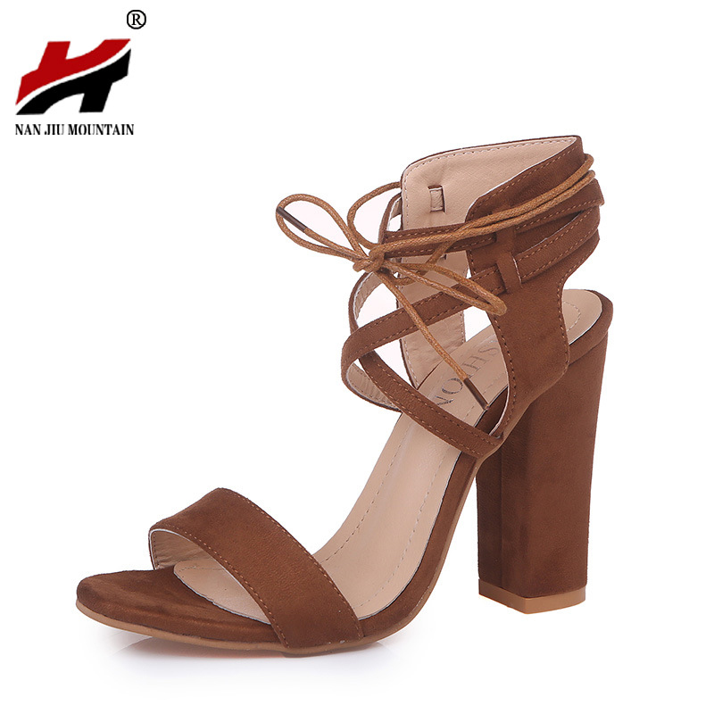 2018 New Spring And Summer High Heel Sexy Hollow Round With Thick Sandals Ankle Buckles Women Shoes Large Size 34-43 2016 spring and summer free shipping red new fashion design shoes african women print rt 3