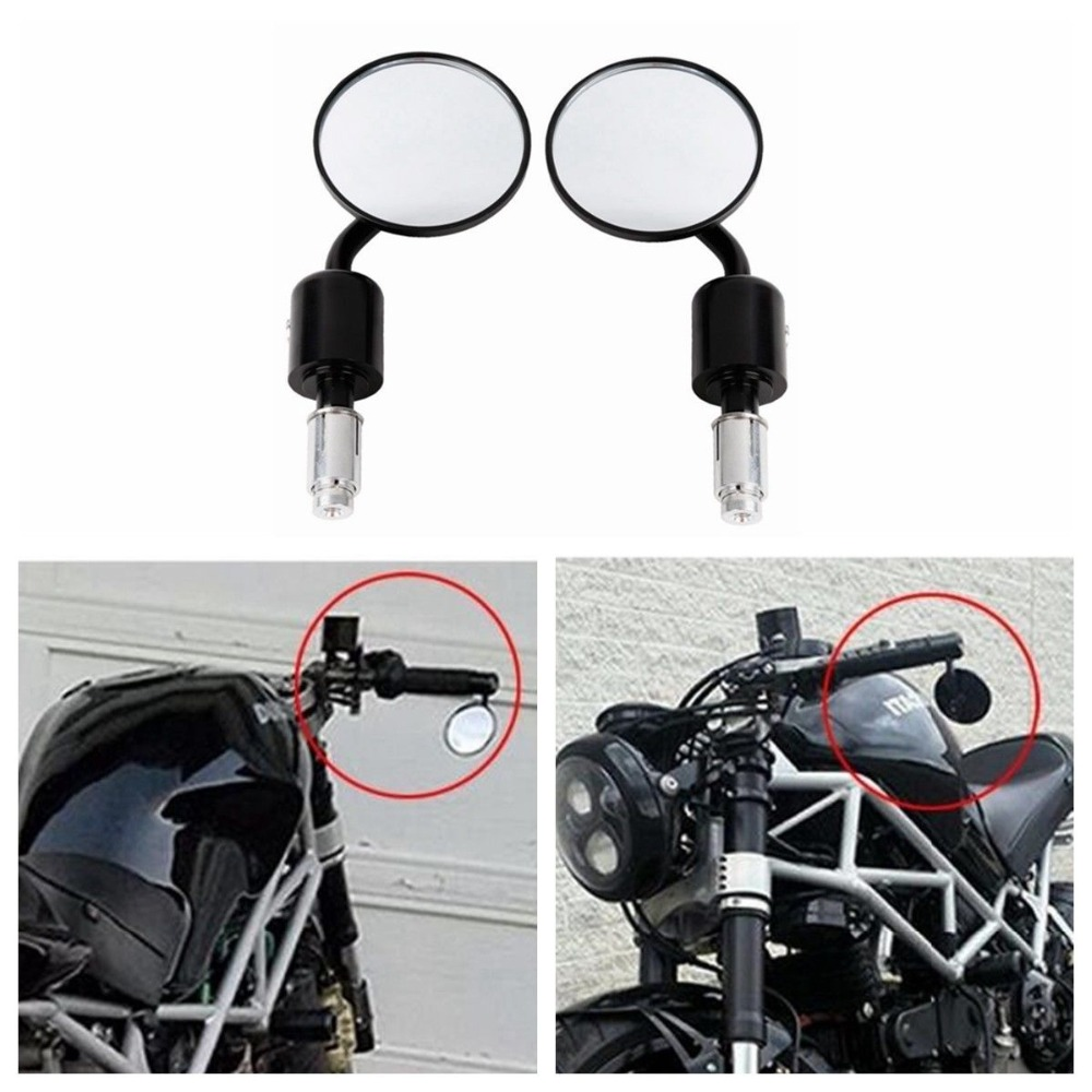 "Motor Universal CNC Aluminium Rear View 3 ""Handle Bar End 7/8"" Mirror untuk Kawasaki Yamaha Honda Suzuki Motor Chopper"