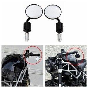 "Image 1 - Motorrad Universal CNC Aluminium Rückansicht 3 ""Handle Bar End 7/8"" Spiegel für Kawasaki Yamaha Honda Suzuki Motorrad chopper"