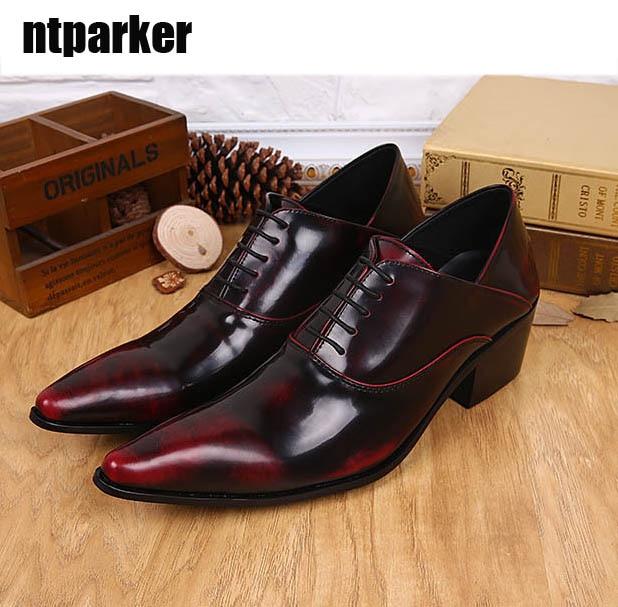 Nincs postaköltség! Bor Vörös mens hegyes toe ruha cipő - Férfi cipők