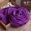 Подлинная Шелк Шарф Женщин 2016 Лето Осень Зима Высокое Качество Шаль Мода Deep Purple Сплошной Цвет Шарфы