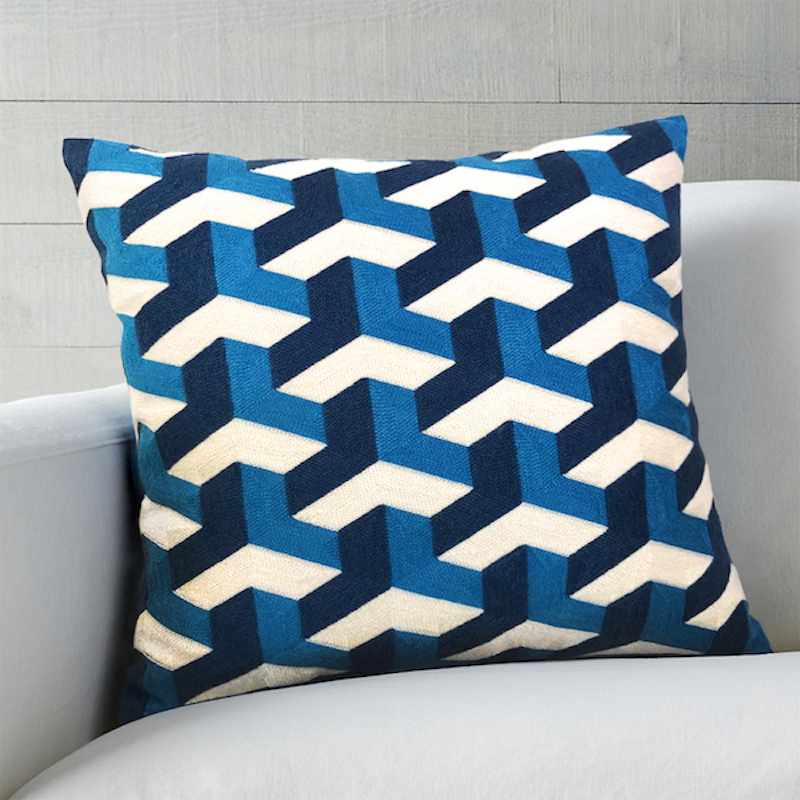 Blue on Blue Embroidered Woven Geometric Cushion Cover