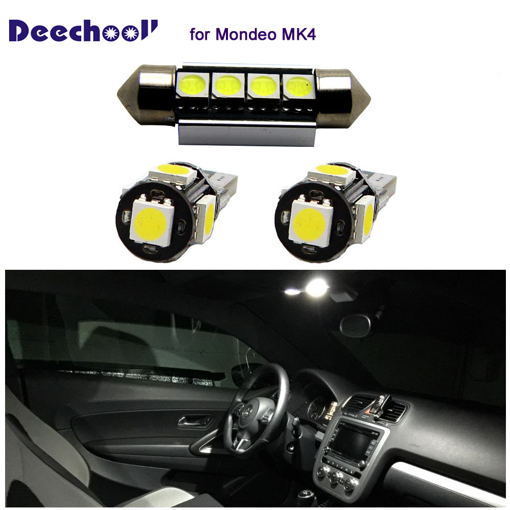 US $15 2 24% OFF|deechooll 12pcs Car LED Bulbs for Ford Mondeo MK4 ,Canbus  Interior Lights for Ford Mondeo MK IV Dome Reading Lights Xenon White-in