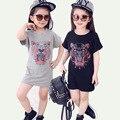 Girls Tiger Head T-Shirts Dress 2017 Summer New Children Dress Animal Printing Short Sleeve T-Shirt Girl Dress Baby Girl Clothes