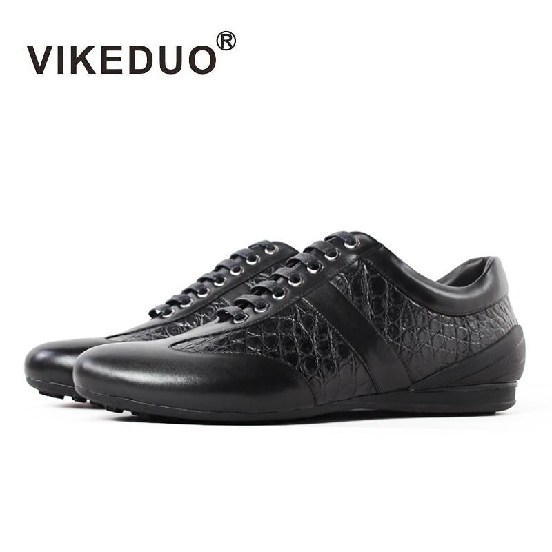 Loisirs Temps Luxe Cuir Dans Crocodile Designer De Mode 100Alligator Main 2019 Vikeduo Limitée Décontractées Le Chaussures Hommes Véritable Black 2WHED9I