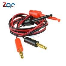 """1 пара 4 мм разъем типа """"банан"""" для тестирования крючка зажим кабель позолоченный для мультиметра Тестовый Кабель оборудование разъем"""
