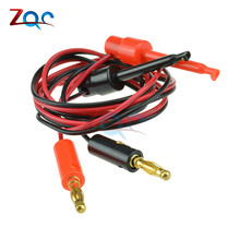 1 Pair 4mm Banana Plug to Test Hook Clip Lead Cable Gold Plated For Multimeter Test Lead Cable Equipment Connector