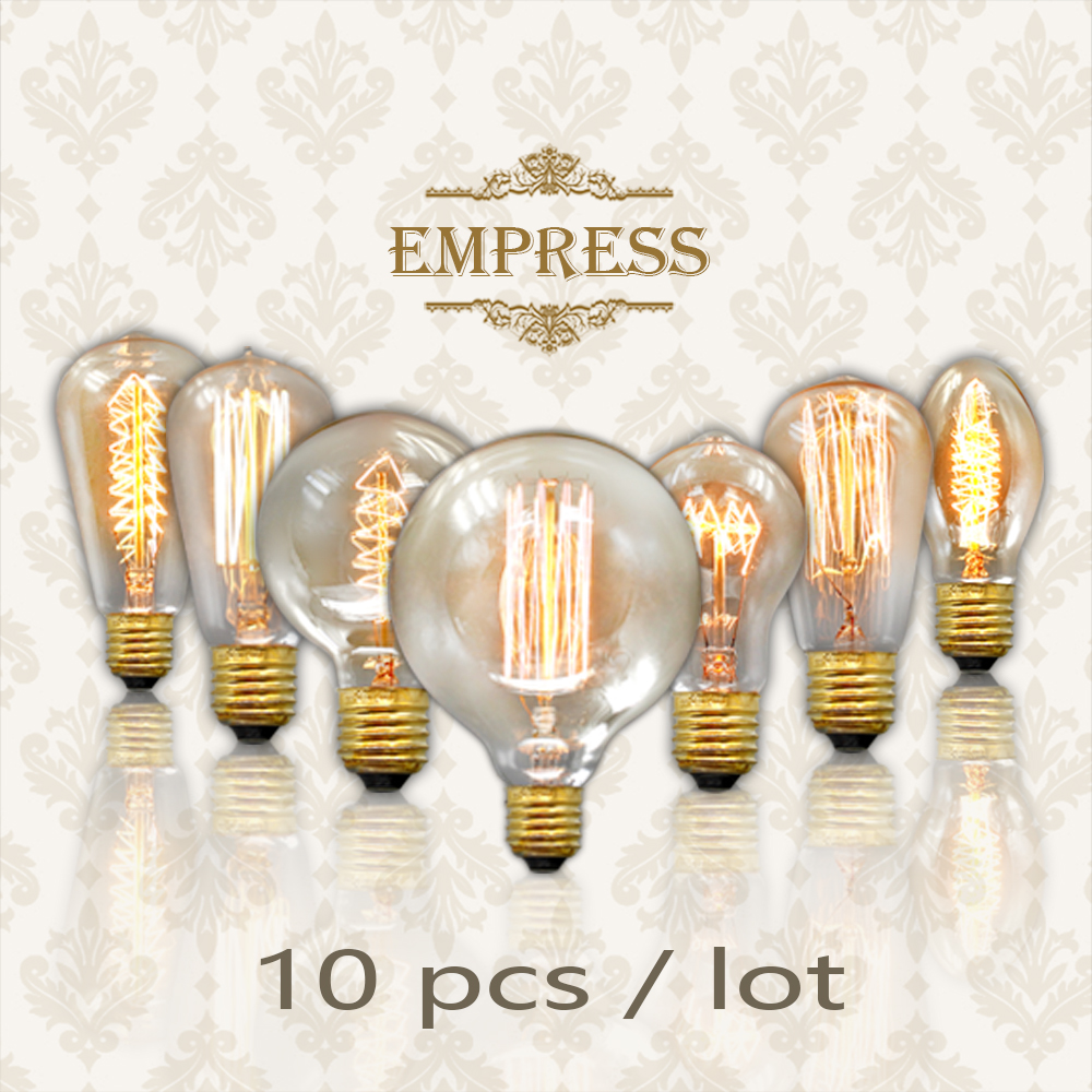 10pcs edison bulb dimmable 40w lampadina vintage gloeilamp e27 retro incandescent edison lamp ampoules decoratives lights bulb