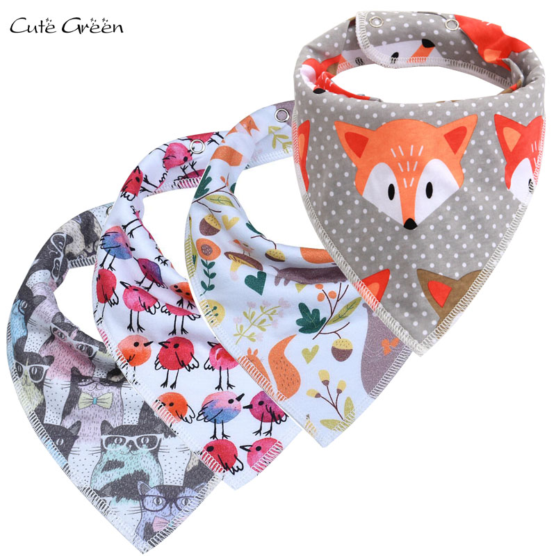Reusable Baby Bibs Burp Cloth Print Cotton Material Triangle Baby Bibs Adjustable Meal Feeding Baby Bandana Bib Infant Bibs finger print bandana