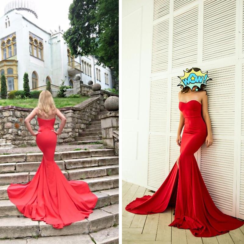 HTB1Zj4.XLfsK1RjSszbq6AqBXXaP - Sexy Strapless Long Black Maxi Dress Front Slit bare shoulder Red Women's evening summer dress Night Gown Party Dress