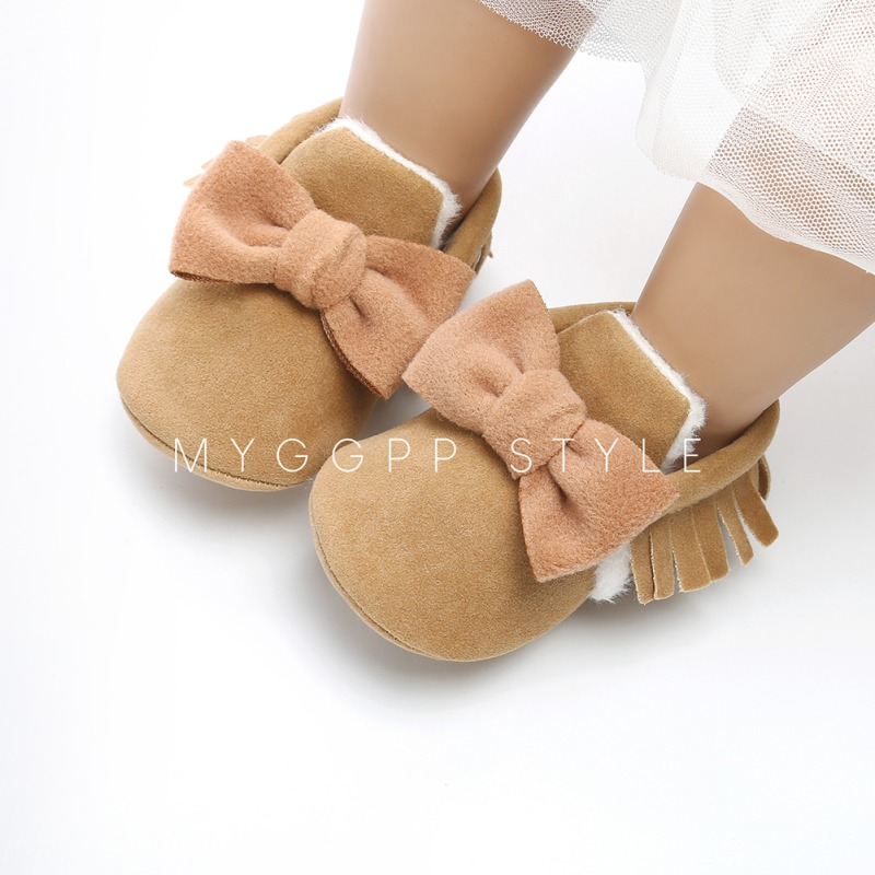 Baby Boots PU Baby Butterfly-knot Moccasins Baby Girls Boys Bon-slip Toddler Shoes 0-18M Soft Shoes