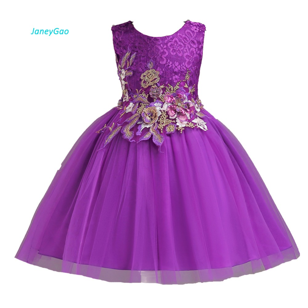 JaneyGao   Flower     Girl     Dresses   For Wedding Party Elegant Little   Girl   First Communion   Dress   Purple Lace Tulle 2018 New Formal Gown