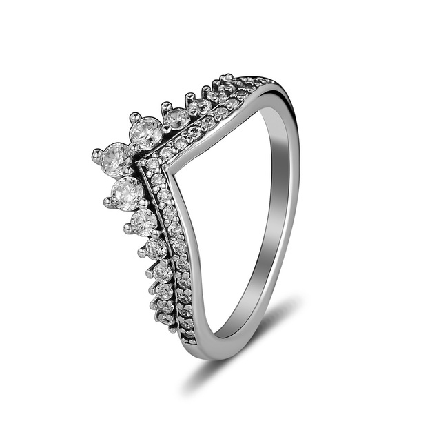 b1bea8c92 Fandola 100% 925 Sterling Silver Princess Wish Clear CZ Ring Wedding Rings  for Women Luxury Jewelry joyas de plata 925