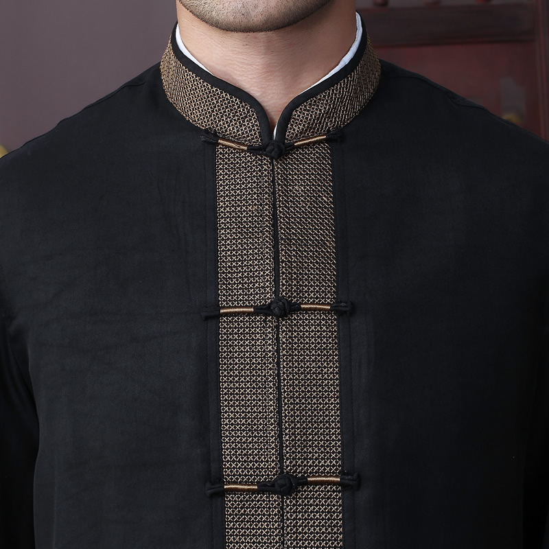 Erkek Kıyafeti'ten Ceketler'de Yeni Varış Sonbahar Erkek Ceket % 100% Ipek Çin Geleneksel Tarzı Kung Fu ceket Moda Tang Takım Elbise ceket Boyutu L XL XXL 3XL 4XL'da  Grup 3