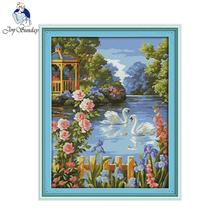 Joy sunday scenic style Swan lake cross stich design landscape embroidery patterns wall painting for home decoration