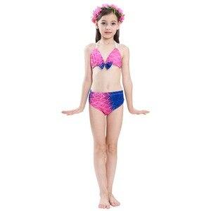 Image 5 - Çocuk Mermaid kuyruk Monofin ile Fin Cosplay kostüm kız çocuk mayo Ariel yüzücü yüzme