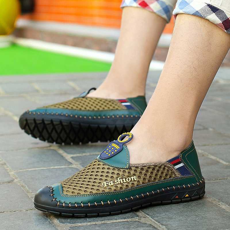 Волк, который летние Для мужчин обувь из сетчатого материала новые слипоны кроссовки; мужские лоферы; модная повседневная обувь Для мужчин эспадрильи красовки ультра W001