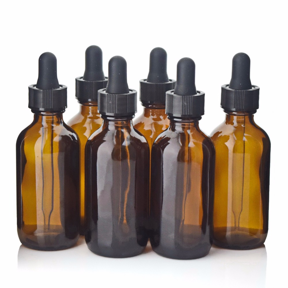 6 X 2 Oz Empty 60ml Amber Glass Dropper Bottles with glass eye dropper pipettes for organic essential oils lab chemicals reagent