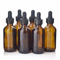 6pcs 60ml 2Oz Amber Glass Bottles With Glass Eye Droppers Perfect For Essential Oils Amber Glass