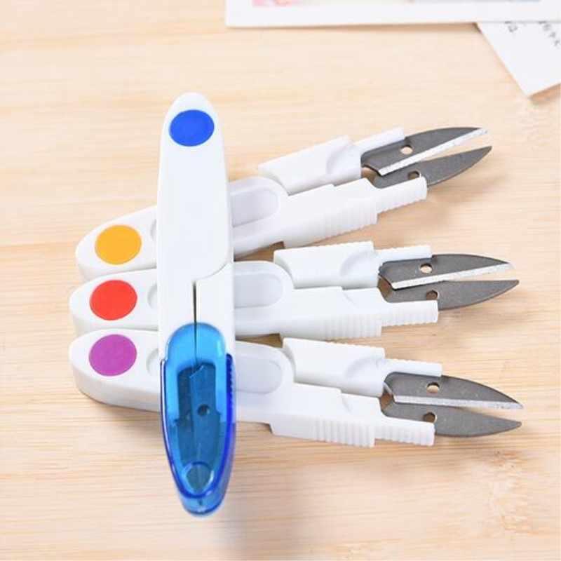 1 ud. En forma de U tijeras de punto de cruz DIY tapa portátil de seguridad mango de plástico tijeras de bordado sastres suministros de costura