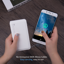 Original Power Bank 12000mAh External Portable Phone Battery With Built in Charging Cable LED Indicator Slim